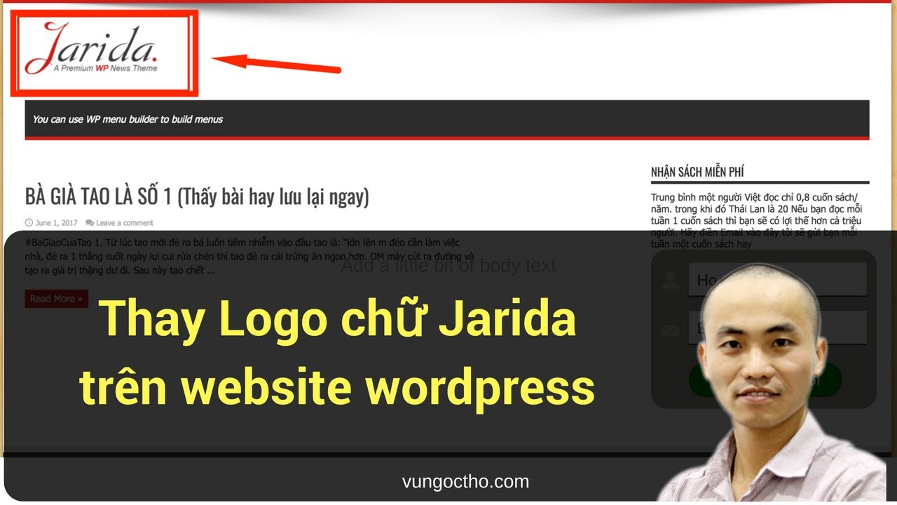 [Hướng dẫn] Thay Logo chữ Jarida trên website wordpress